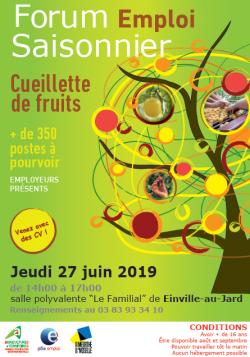 Forum emploi saisonnier cueillette de fruits le 27 juin 2019 à Einville-au-Jard