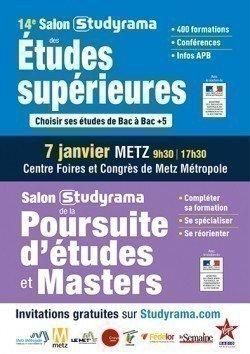 14e Salon des Etudes Supérieures  et 1er Salon de la Poursuite d'Etudes et Masters le 7 janvier 2017 à Metz