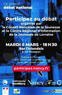 Grand Débat Jeunes mardi 8 mars 2019 à la Taverne de L'Irlandais Nancy